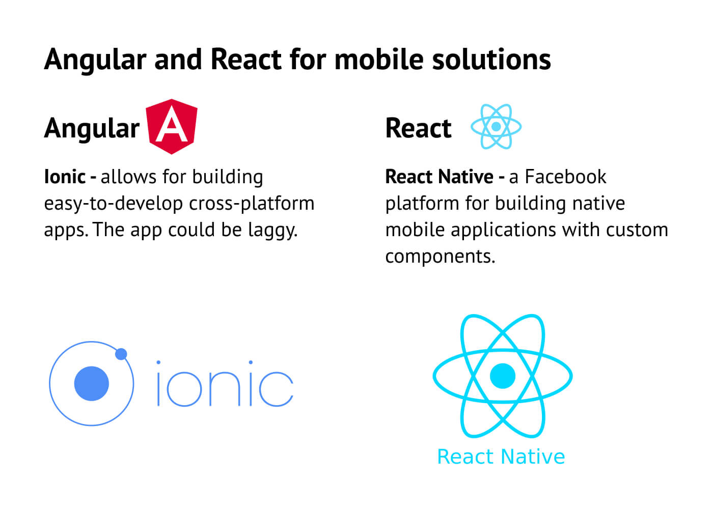 What Angular and React offer for mobile solutions