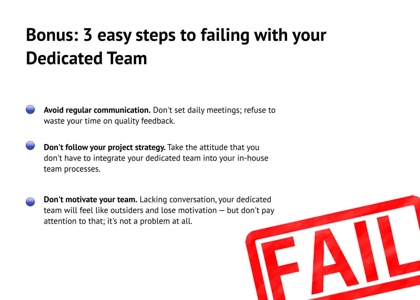 How to fail with a Dedicated Team: pranksterish advice.