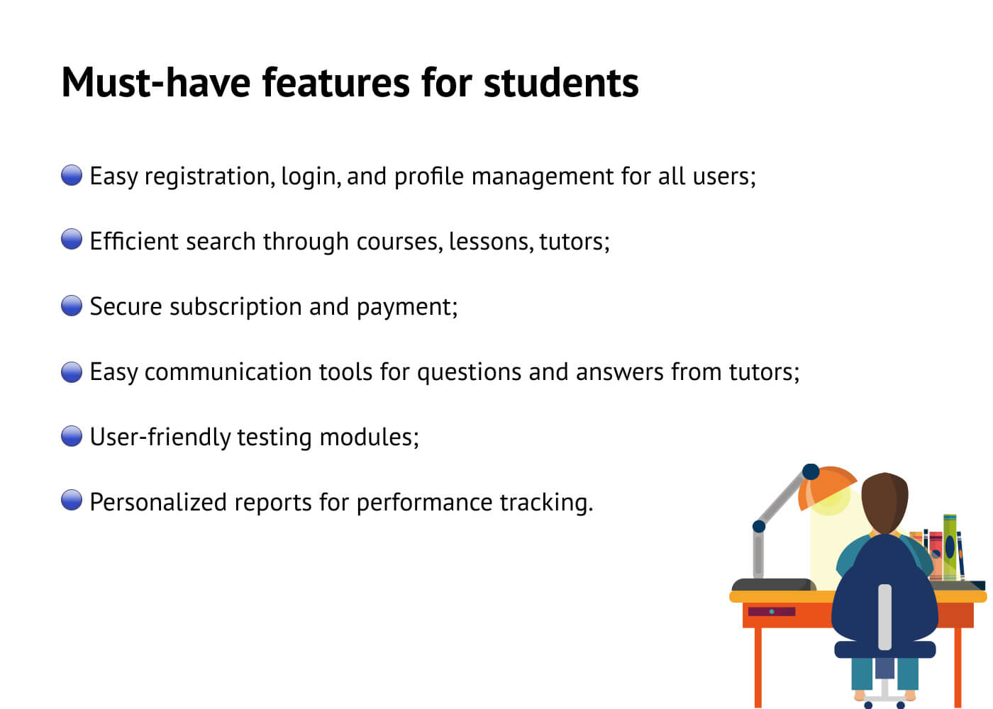 E-learning features for students
