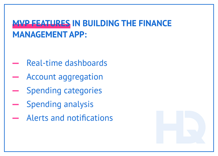 MVP features in building the finance management app