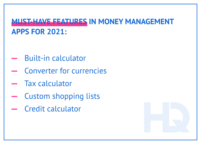 Must-have features in money management apps for 2021