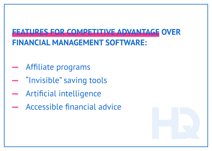 Features for competitive advantage over financial management software
