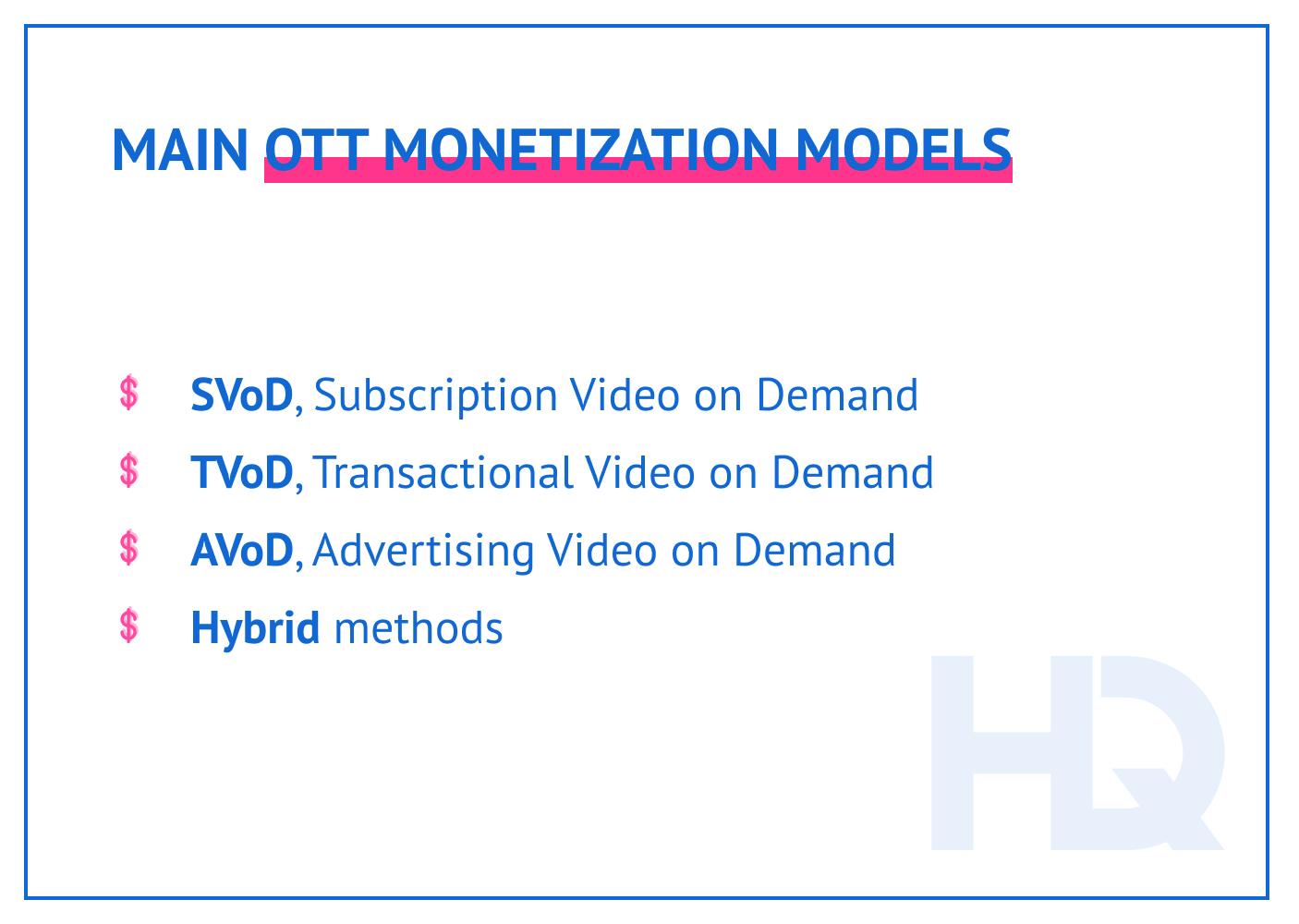Main OTT monetization models.