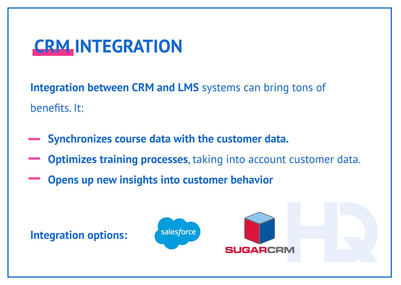 CRM integration.