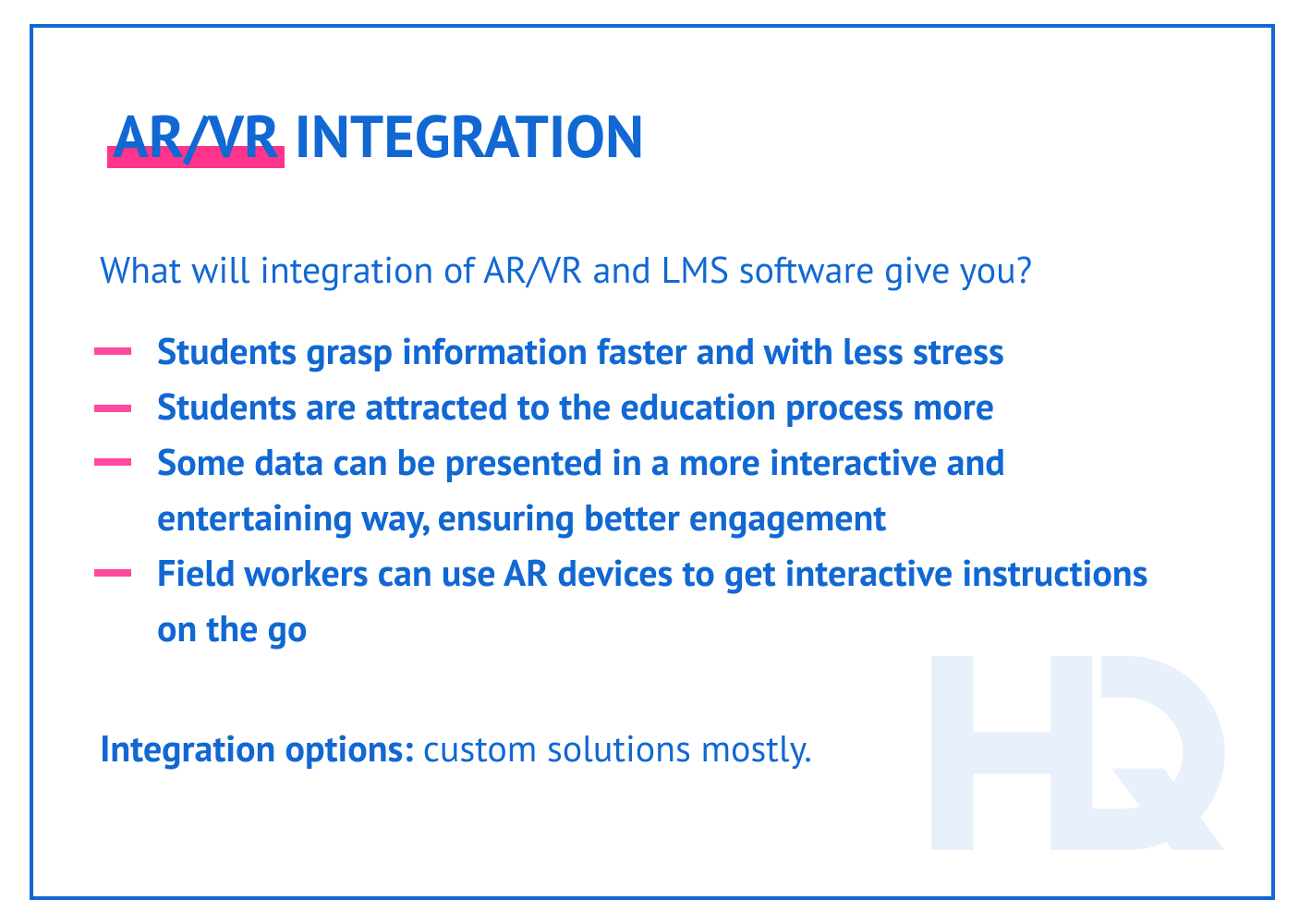AR/VR integration with LMS.