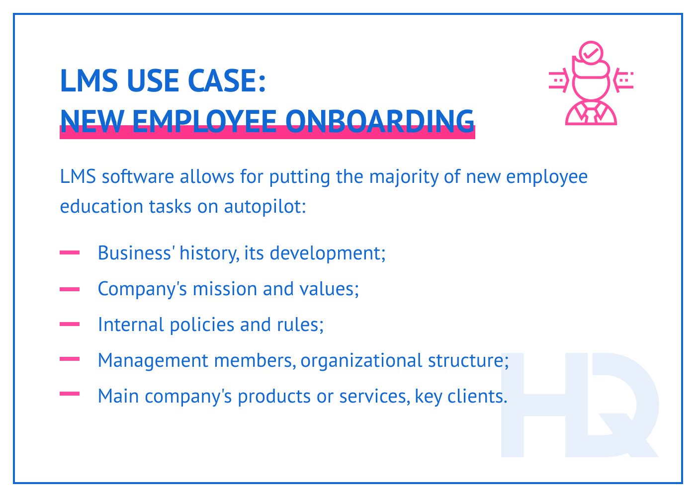 LMS use case: new employee onboarding.