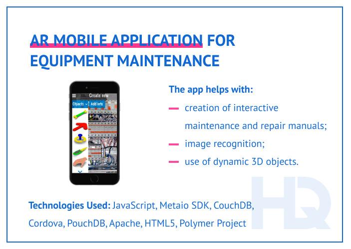 AR mobile app for equipment maintenance