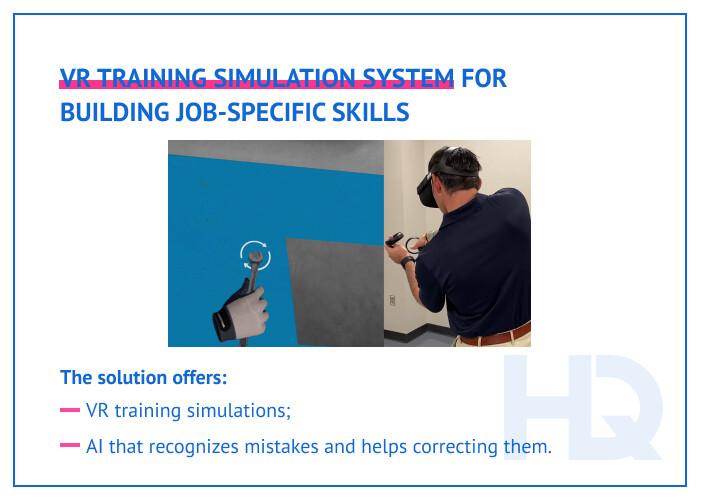 VR training simulation system for building job-specific skills