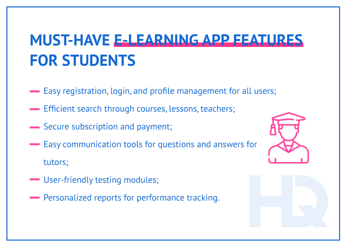 E-learning app features for students