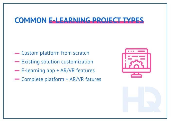 Common e-learning project types
