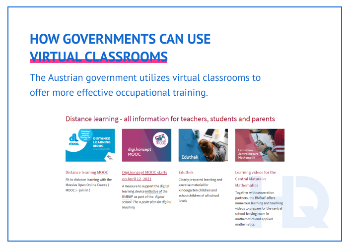 How governments use virtual classrooms