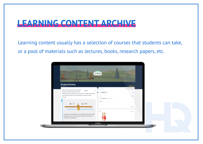 Learning content archive
