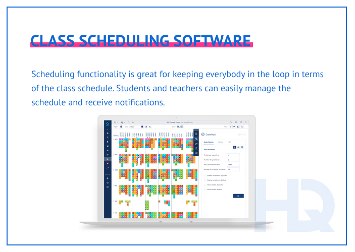 Class scheduling features keep everybody in the loop