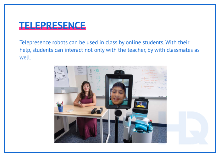 Telepresence robots improve communication between offline and online learners