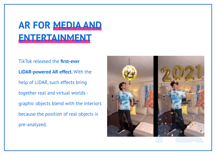 AR for media and entertainment