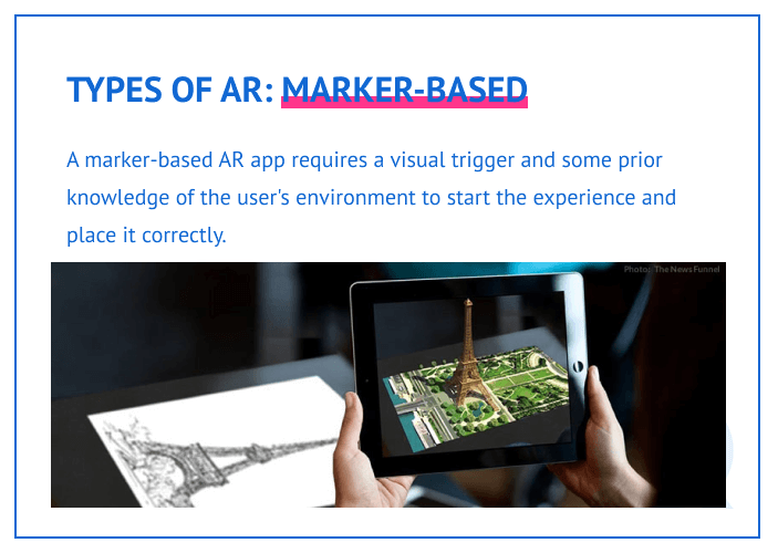 Types of AR: marker-based