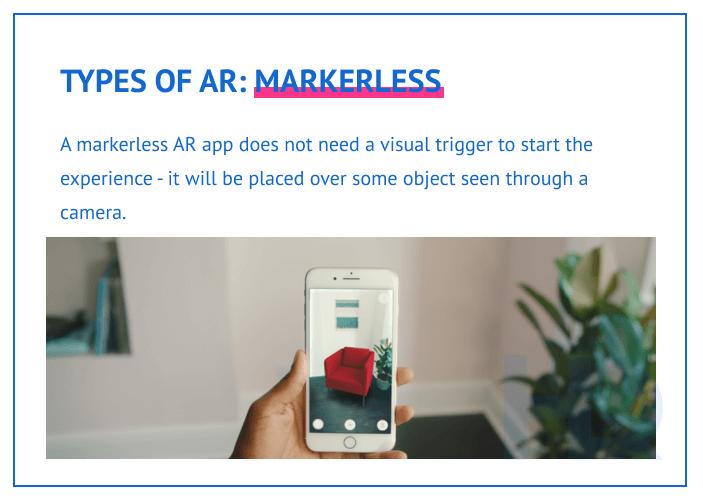 Types of AR: markerless