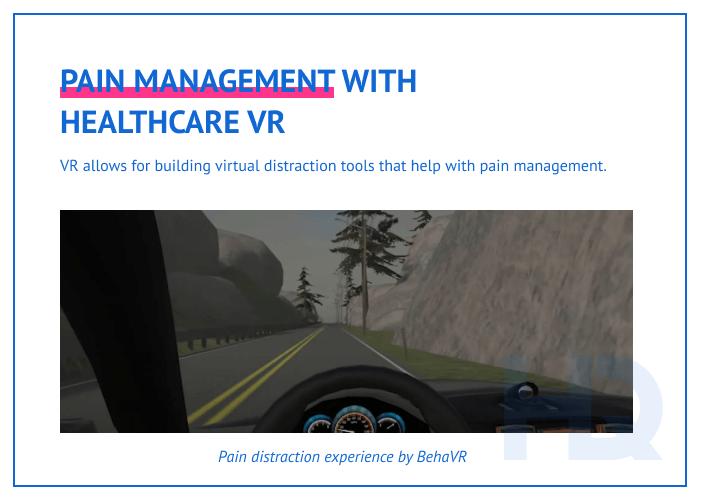Pain management via VR distraction methods