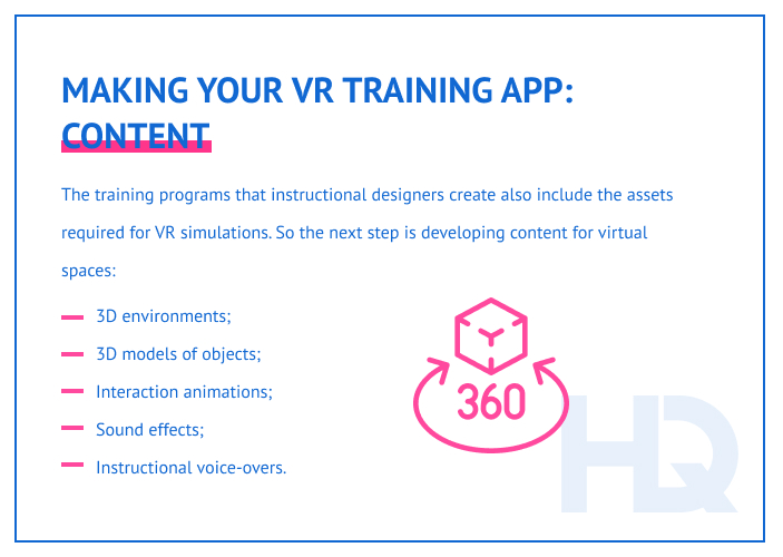 Content for VR training app