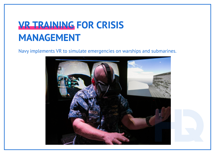 VR for crisis management training