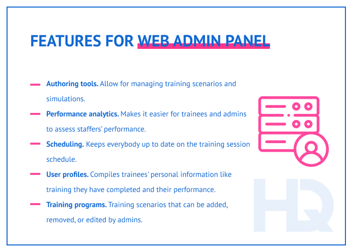 Features for web admin panel