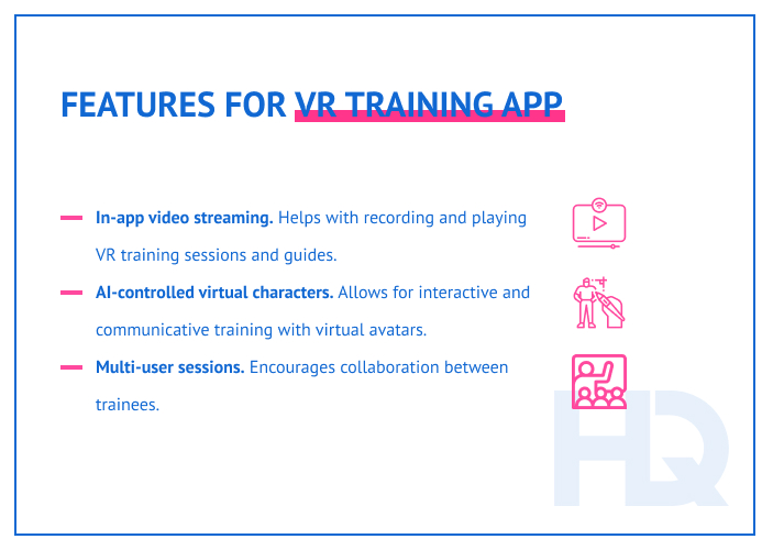 Features for VR training app