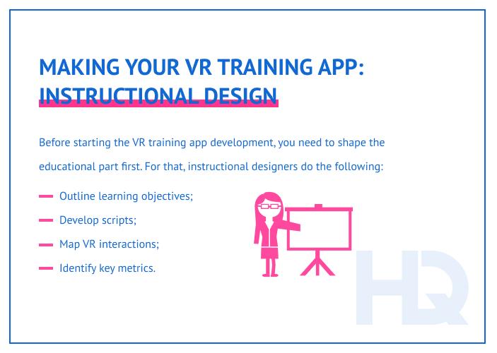 Instructional design for VR training app