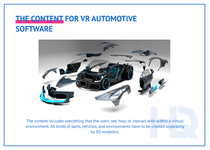 Content for VR software