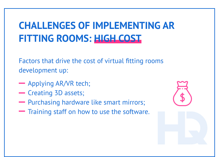 The expenses of implementing a virtual fitting room may add up quickly