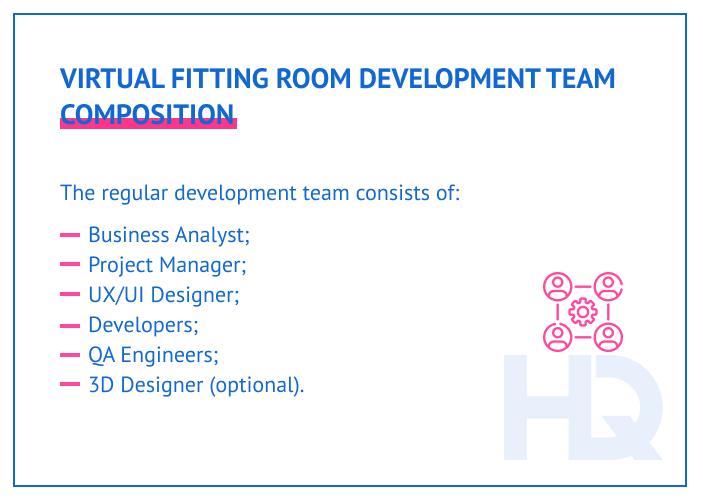 VR fitting room development team composition