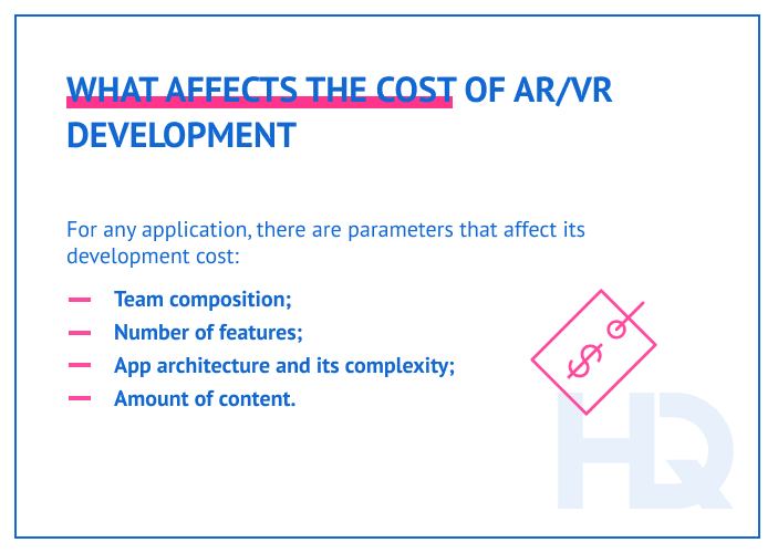 Factors that affect the cost of AR/VR development